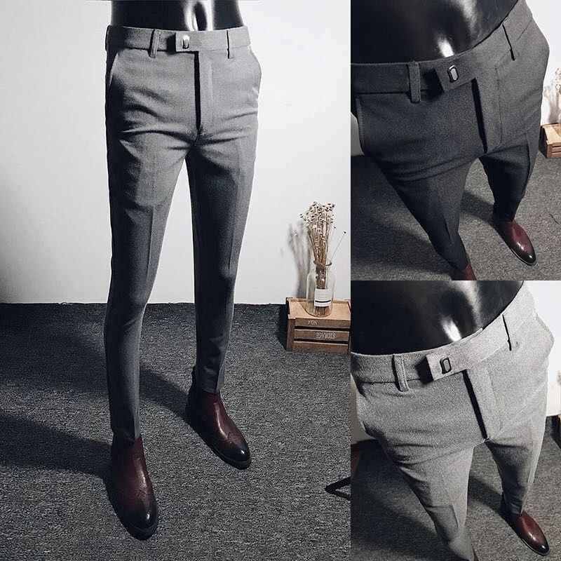 Весенние деловые и свободные брюки мужские черные эластичные маленькие брюки длинные брюки на осень и зиму длинные брюки корейские