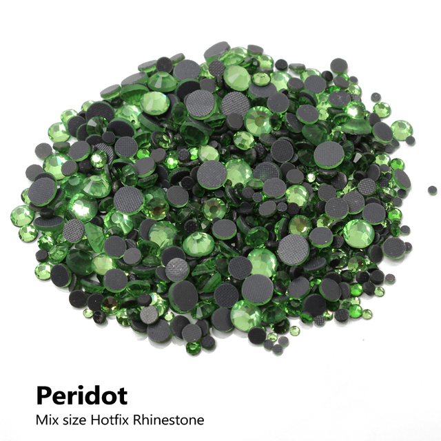 DMC Peridot Hotfix Rhinestone Mixed size SS6 10 16 20 30 2000Pcs lot  Flatback stones for rhinestone motifs free shipping fc19c834f627