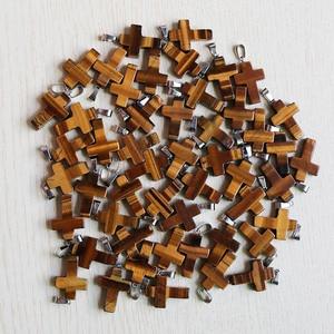 Image 3 - 天然石クロスペンダント女性のギフト18*25ミリメートル卸売50ピース/ロットクリスタルネックレスジュエリーメイキングのために送料無料