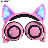 2017 New Cute Glow Bluetooth Cat Ear Headphones For Girls Led Wireless Bluetooth Headphone Children Luminous