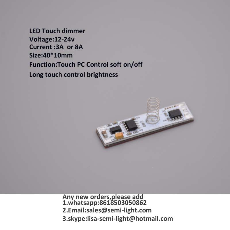 30 pcs / lot 12-24 v 8A PCBA LED Sentuh dimmer untuk lampu strip aluminium LED