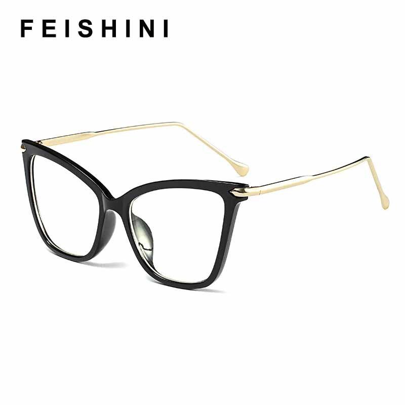 FEISHINI Black frame Cat Eye Glasses Frame Women brand Clear Lens Transparent Eyewear frames Ladies Myopia Nerd eyeglasses