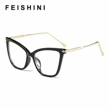 FEISHINI Black frame Cat Eye Glasses Frame Women brand Clear Lens Transparent Eyewear frames Ladies Myopia Nerd eyeglasses