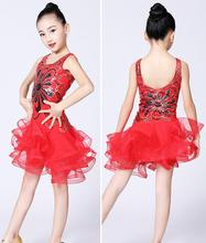 New Children Latin Dance Skirt Sequins Mesh Stage Performance Clothing Girls Tango Salsa Competition Dress Red