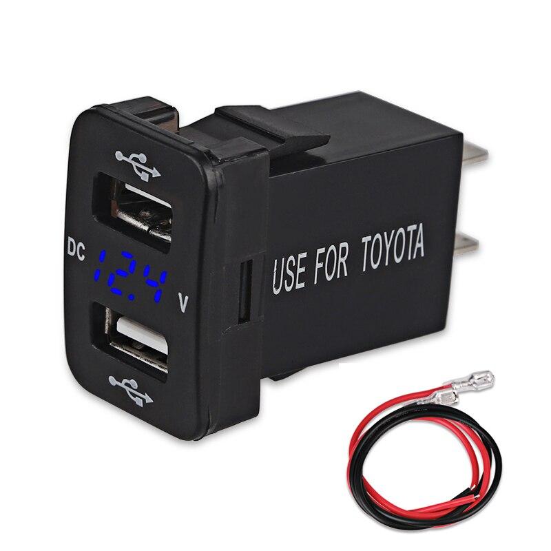 1 unids 5 V 4.2A para Toyota cargador Dual del coche del USB carga rápida 2 puerto USB adaptador Auto voltímetro LED zócalo para Honda 12-24 V