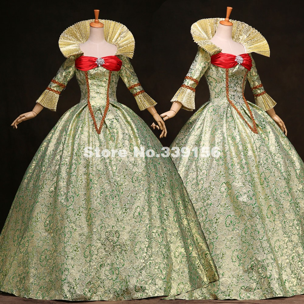 Christmas gown ideas 18th - Best Seller Women Green Printed Marie Antoinette Dress 17th 18th Century Queen Victorian Ball Gowns Renaissance