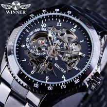 Montres Winner Bracelet noir complet pour hommes mains lumineuses montre automatique pour hommes Top marque de luxe relogio masculino horloge mâle