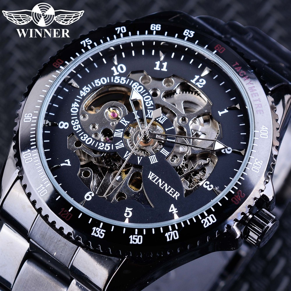 Winner Watches Full Black Bracelet for Men Luminous Hands Men's Automatic Watch Top Brand Luxury relogio masculino Male Clock