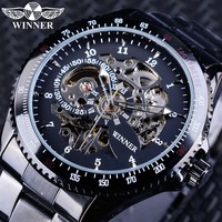Winner Watches Full Black Bracelet For Men Luminous Hands Men S Automatic Watch Top Brand Luxury