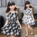 2017 Summer Style Girls Dress Size 110cm-170cm Kids Fashion Flower Voil Sleeveless Floral Beach Dress Female Children clothing