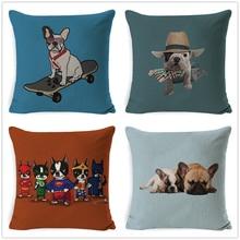 Fokusent Cushion Cover Dachshund Linen Decorative Pillows Pet Cat Printed Pillow Cases Pillowcase Gift Bedroom Sofa Home Decor