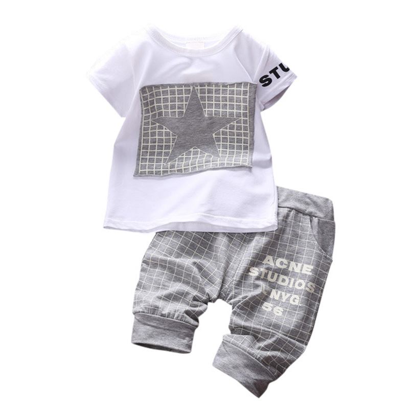 2018 Fashion Baby Boys Summer Beach Party Casual Clothing Sets Children's New 2pce Suit Sets T-shirts+Shorts Clothes 4 Colors