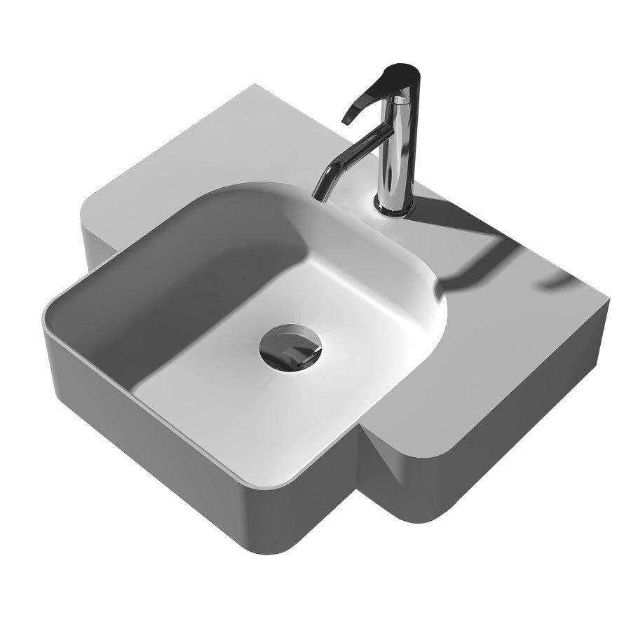 Oval do banheiro dissipador da Embarcação de pedra superfície sólida da parte superior contrária moda Vaidade Acima lavatório RS38185