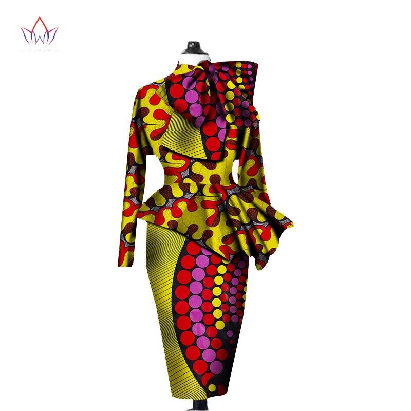 701ee9045334 Ropa Africana mujeres Ankara Tops conjunto de dos piezas de manga larga  cultivos Tops y falda ...