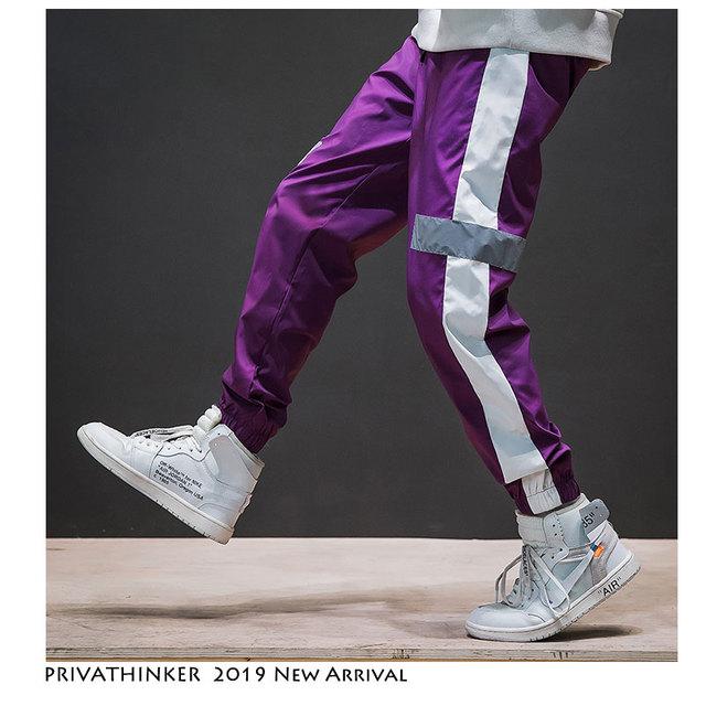 Privathinker US Size Side Stripe Track Jogger Pants Men 2019 Reflective Label Track Harem Pants Homme Streetwear Male HipHop