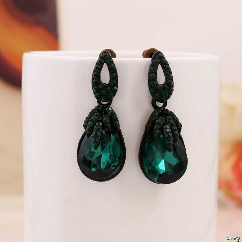Bohemia Earrings Dark Green Bohemian Boho Vintage Charms Women Jewelry Retro Fashion Stone Rhinestone Geometric Dangle Charm