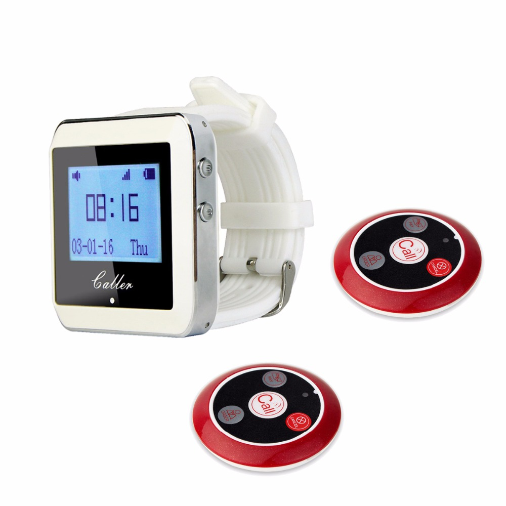 TIVDIO 433MHz Wireless 1PCS Wrist Watch Receiver+2PCS Calling Transmitter Button Call Pager Four-key Pager Restaurant Equipment