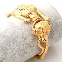 Christmas Gift 316L Stainless Steel 3D Tiger Design Gold Biker Jewelry Men's Bracelet Cuff Bangle Hip hop Gift 8.26 Wholesale