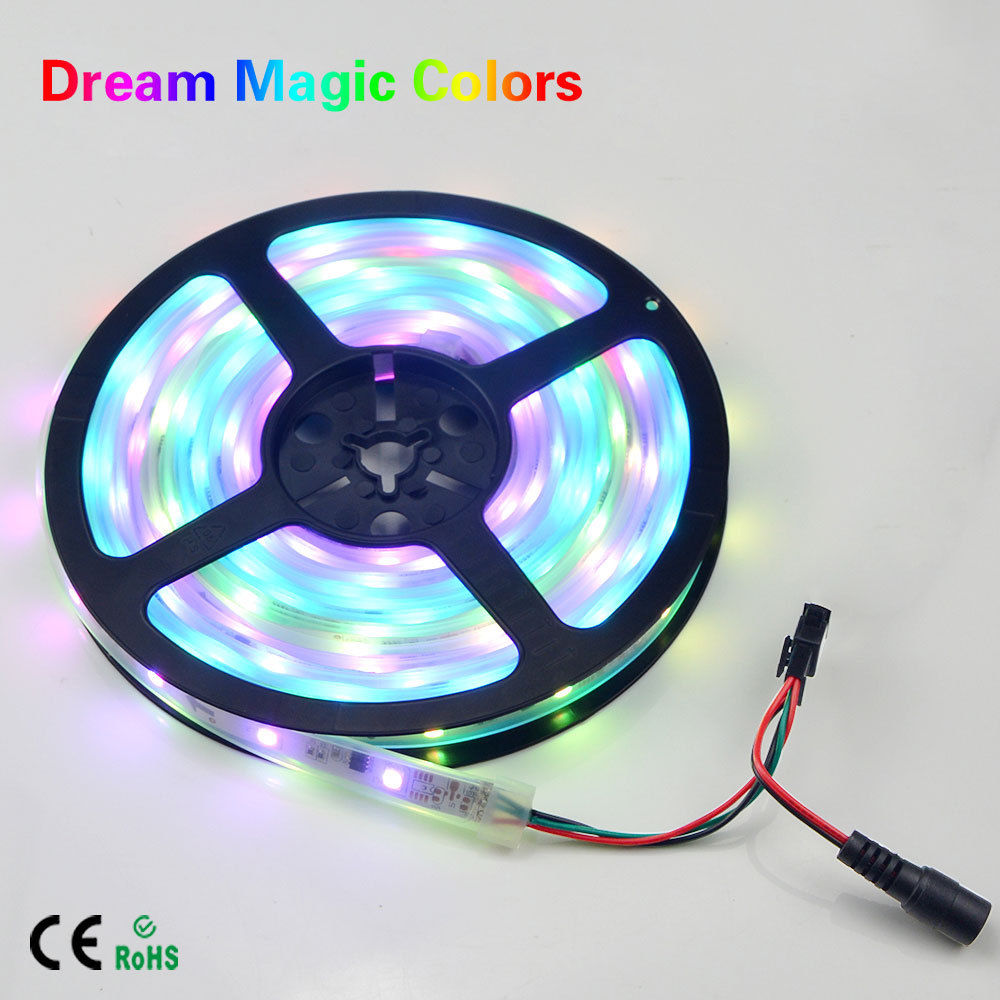 5M 12V IP67 Tube Waterproof Addressable WS2811 ICs Magic Dream Color 5050 SMD LED Flexible RGB Strips light 30LED/m Neon lamp sale multicolor glow neon wireless remote motorcycle rgb 5050 led smd flashing light 12 strips waterproof 15 color