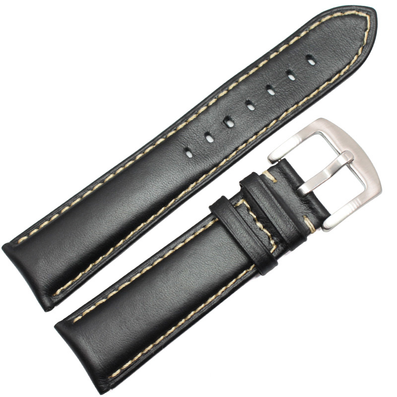 Smooth Genuine Leather Watchbands Black Dark Brown Bracelet 18 19 20 21 22 24mm Watch Band Strap Stainless Steel Silver Buckle