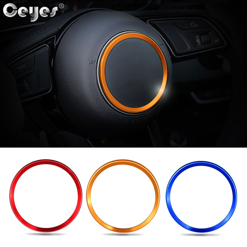 Ceyes Car Styling Auto Steering Wheel Hub Cover Accessories Decoration Stickers Ring Case For <font><b>Audi</b></font> <font><b>A4</b></font> B9 A3 A6 A6L Q3 <font><b>2017</b></font> 2018 image