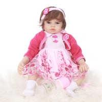 55 CENTÍMETROS Suave Silicone Bebê Reborn Lifelike Bebês Brinquedos Menina Boneca 22 polegada Boneca De Vinil Bonecas Reborn Bebes De Menina
