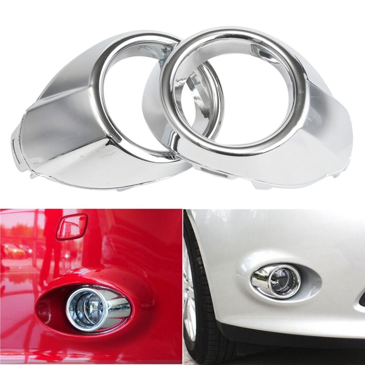 2Pcs Chrome Front Fog Light Lamp Cover Bezels Trim For Ford /Focus 2012-2014