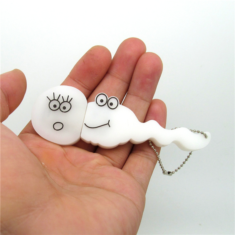 Cute White Smile Sperm Tadpole Usb Flash Drive Disk Memory Stick Pen Drive Personalized Mini Gift Pendrive 4gb 8gb 16gb 32gb