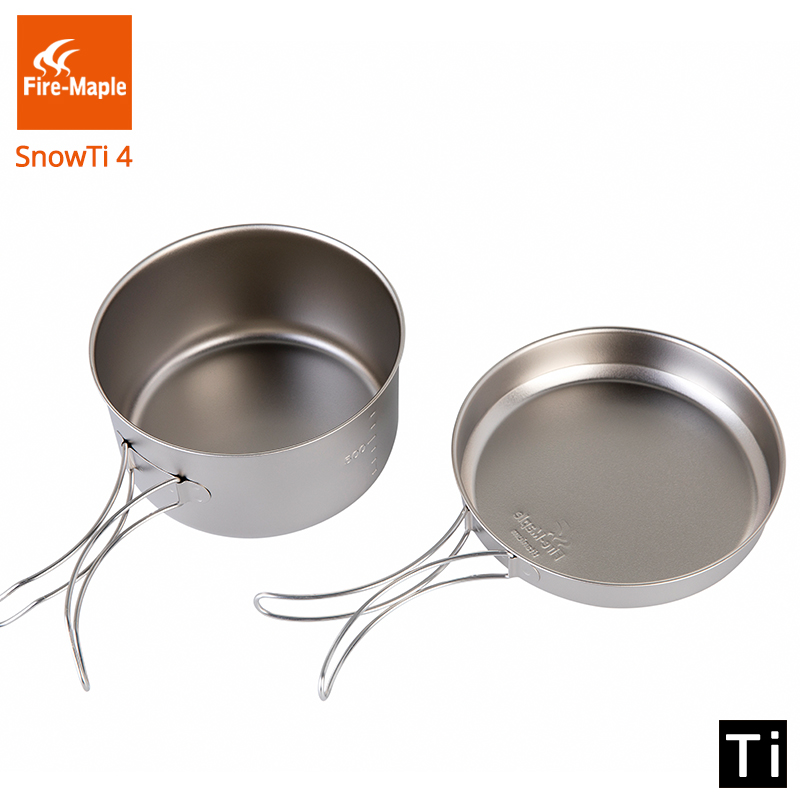Fire Maple SnowTi 4 Portable Snow Titanium 0 8L Outdoor Camping Pot and 0 38L Frying