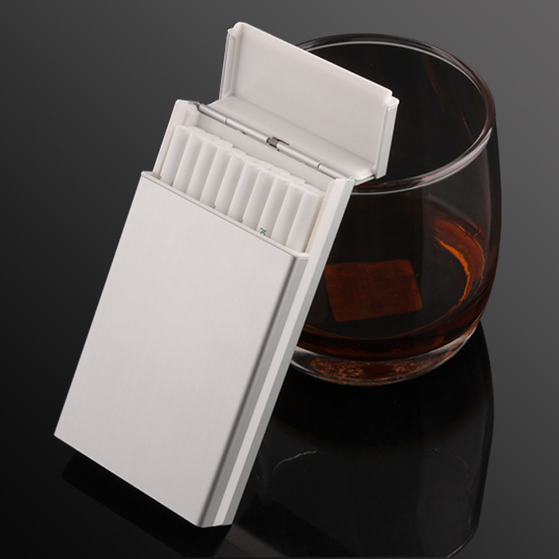Ultra Thin Lengthened Cigarette Case Slim Metal Cigarette Box Aluminum Cigarette Holder For Women's Slim Cigarettes 6colors