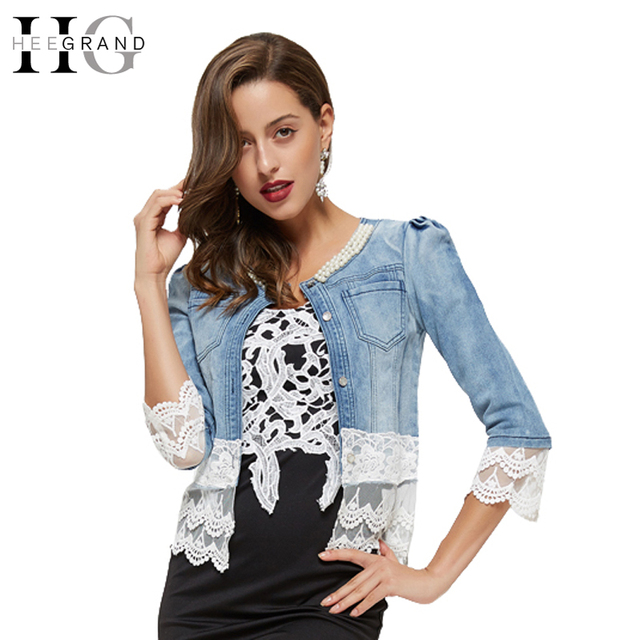 HEE GRAND Women Denim Jacket Chaquetas Mujer Coat Cute Lace ...