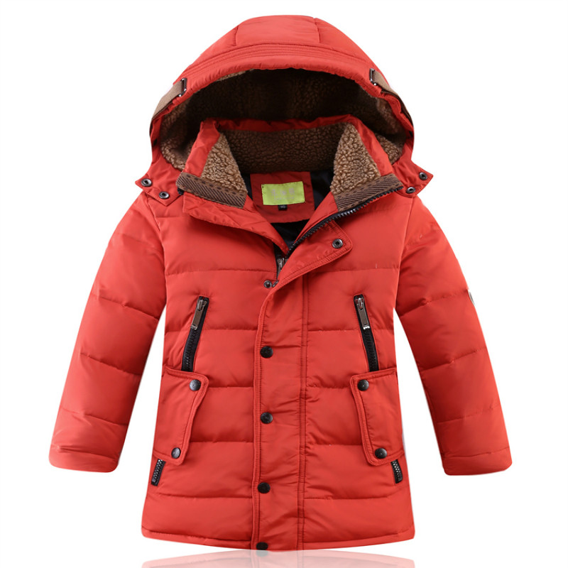 9cdcdd33a47 Boys Girls Winter Down Jacket Hooded Warm White Duck Down Velvet Long  length Coat Causal Fashion Size for 6