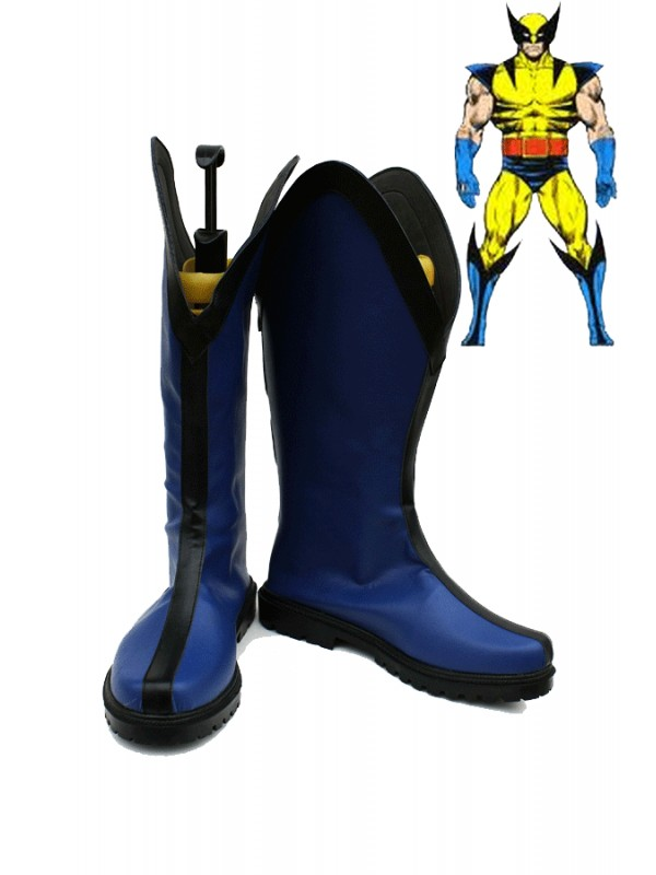 Dark Blue and Black Superhero Cosplay Boots