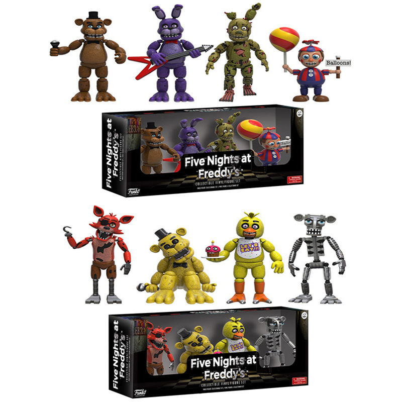 12sets/lot 5cm 2 Types mix FNAF Five Nights at Freddy's 4 Figure 1 Set 2 Chica Freddy Foxy Figure Five Nights At Freddys Models