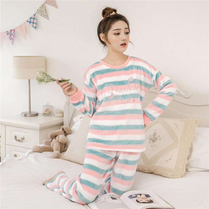 Women pajamas set Women Pyjamas Thick Flannel Cute Sheep Female Warm Winter Pajama Set Long Sleeve Full Trousers Two Piece 2019 46