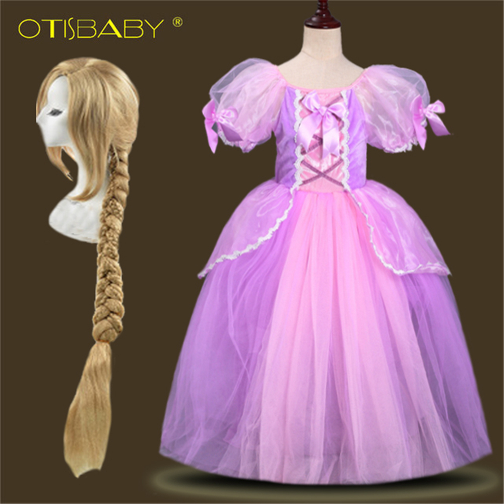 Children's Christmas Halloween Party Girls Rapunzel Dress Child The Tangled Cosplay Costumes Rapunzel Wig Yellow Braid Hair girls fairy tale princess synthetic wavy wig children elsa belle rapunzel moana aurora anna mermaid party braid cosplay hair wig