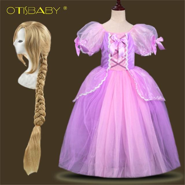 Di Natale per i bambini Del Partito di Halloween Delle Ragazze Rapunzel Dress  Bambino Il Tangled Costumi Cosplay Rapunzel Parrucca Giallo Dei Capelli  Della ... 7af92dfb6d5e