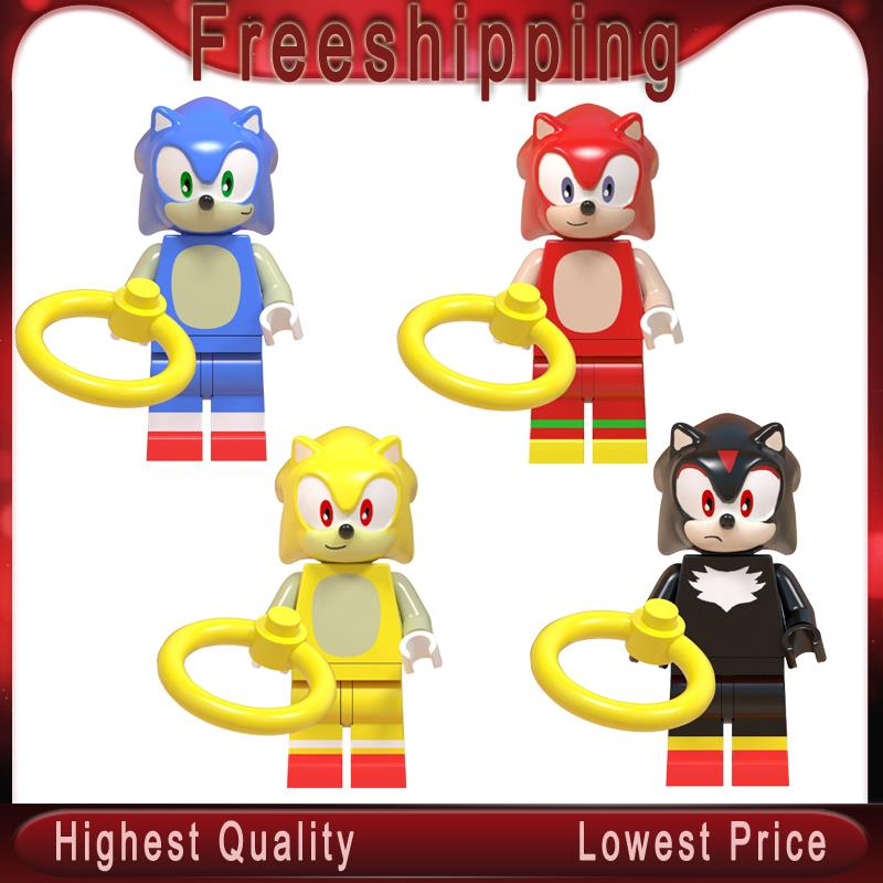 Super Sonic Shadow Anime Sonic Knuckles Action Figures Doll Toy Christmas Gifts Building Blocks Toys Legoe Minifigured WM6043(China)