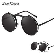 LongKeeper Folding Punk Sunglasses Women Unique Men Double Lens Tinted Steampunk Glasses UV400