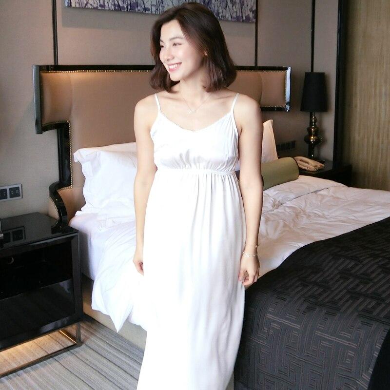Summer Silk Sexy Women's White Underwear Sleeveless Nightgowns Elegant Sleepwear Female Sexy Lingerie  5590