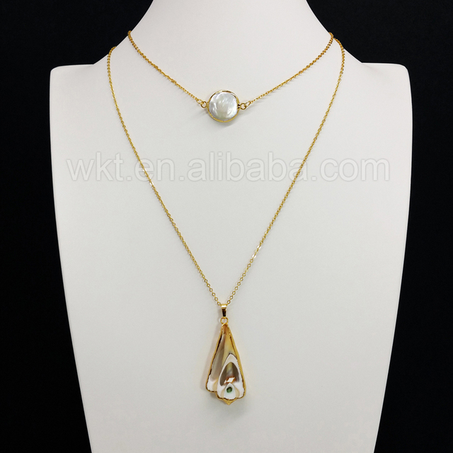 Wt n682gold plated double layer long shell necklace wholesaletiny wt n682gold plated double layer long shell necklace wholesaletiny freshwater pearl charm necklace aloadofball Image collections