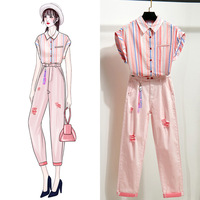 ICHOIX women 2 piece set summer 2019 pink ladies strip print Shirt tops and pants set 2 pcs Korean style two piece outfits S XL