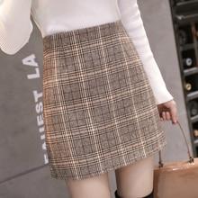 Mujeres Mini faldas 2019 otoño marrón Plaid Vintage mujeres Mini faldas Slim elástico estilo coreano mujer ropa de invierno