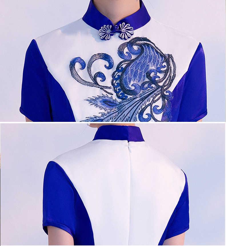 לבן כחול נשים ארוך Cheongsam סגנון הסיני קצר שרוול שמלת Qipao Slim המפלגה שמלות אביב סתיו ליידי Vestido S-3XL