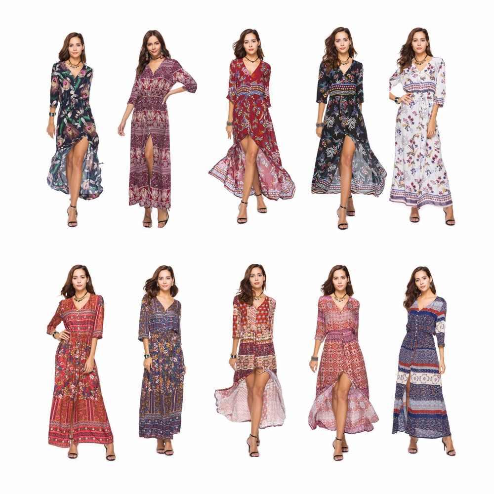 Лето Осень Новые женские длинные макси платья в богемном стиле с v-образным вырезом три четверти рукав принт этнический пляжный Сплит Стиль платье плюс размер