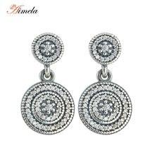 Pequeño Diamante de LA CZ Allanar Radiante 925-Sterling-Silver Elegancia Gota Pendientes Largos Stud 2016 Primavera Nueva Moda Pendientes Para Las Mujeres