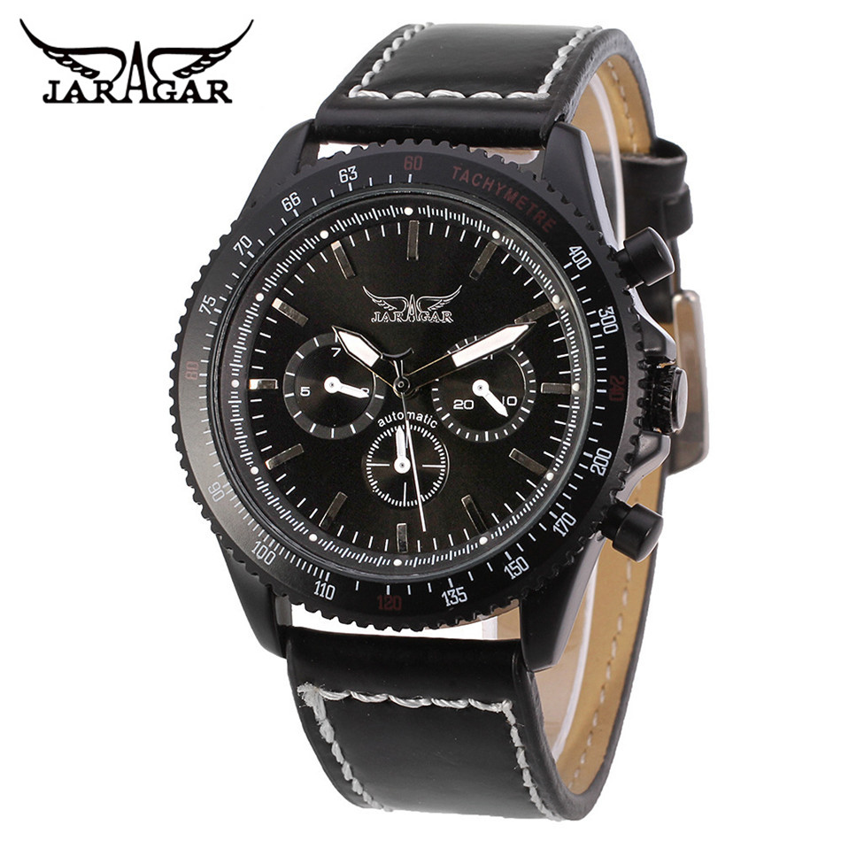 JARAGAR Fashion Relogio Masculino Men s 6 Hand Day 24 Hours Auto Mechanical Wristwatch PU Leather