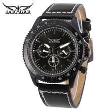 JARAGAR Moda Relogio masculino hombres 6 Manos Día/24 Horas Mecánico Automático Reloj de Pulsera de Cuero de LA PU de Relojes Envío Gratis