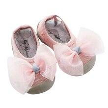 SAGACE/Обувь для девочек; милая мягкая детская обувь для младенцев; удобная милая мягкая Розовая обувь для маленьких девочек с бантом