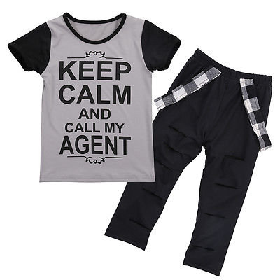 Stylish Kids Baby Girls Clothes Cotton Tops T-shirt Hole Pants Leggings Outfits Clothes Set Boy Letters Short Sleeve Clothing t shirt tops long pants outfits set cotton clothing cute 2pcs children kids baby boy girls clothes set